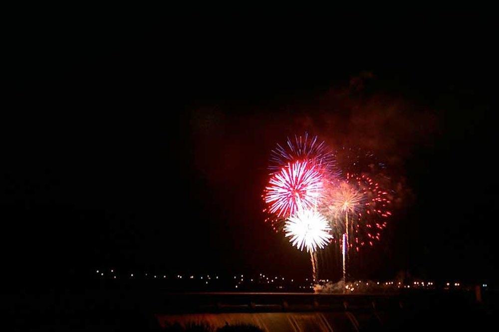 fireworks over dam
